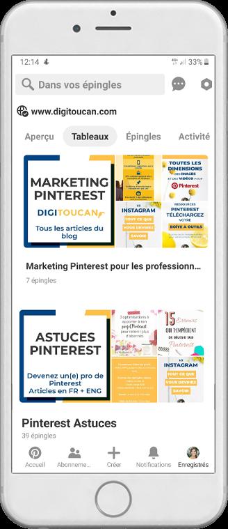 Aperçu d'un profil Pinterest sur Mobile