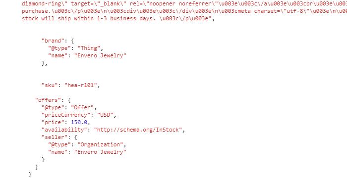 exemple de données structurées en JSON