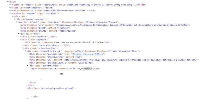 Extrait de micro-données sur un site web