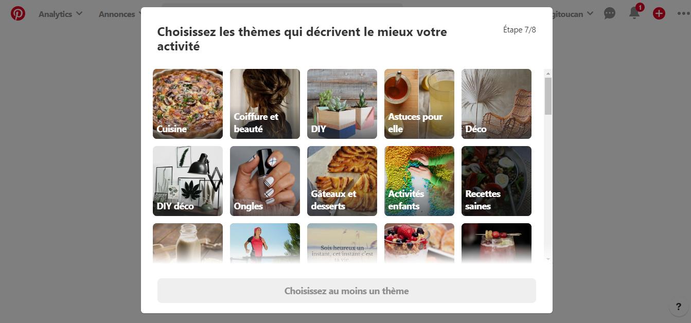 Sélection des thèmes sur Pinterest
