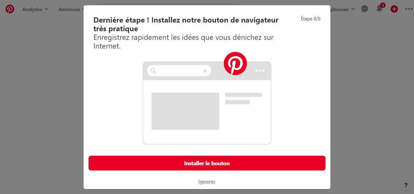 Pop up Pinterest pour demander l'installation de l'extension Pinterest sur son navigateur
