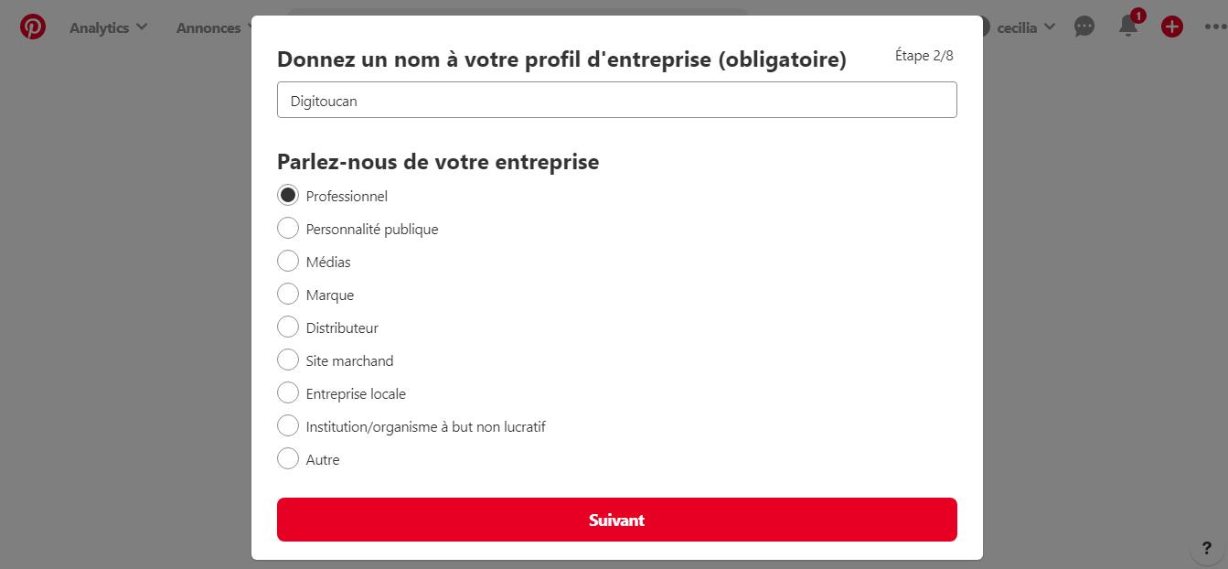 Paramétrage d'un compte business sur Pinterest