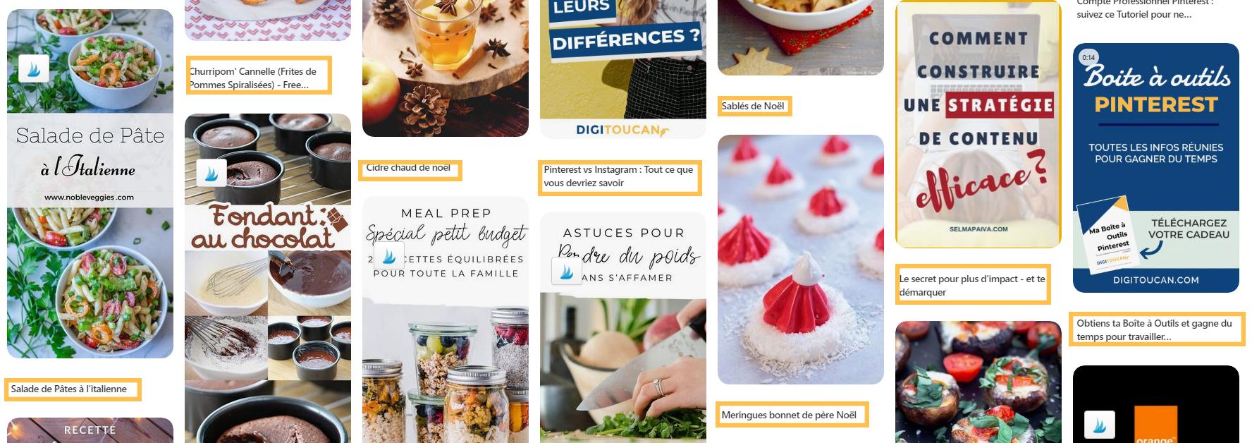 Feed des épingles dans un compte Pinterest