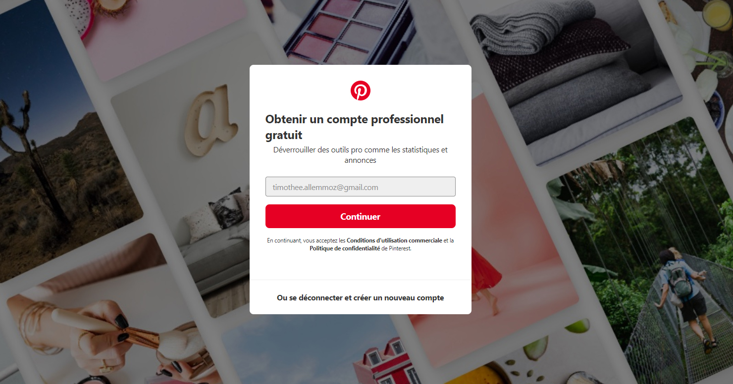 Pop up Pinterest demandant la confirmation de l'adresse email