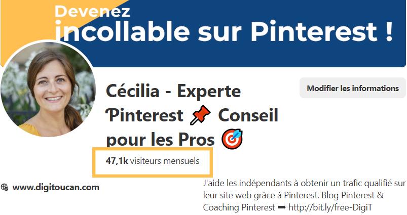 Profil d'un compte Pinterest