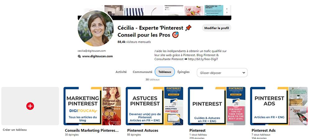 le profil d'un compte Pinterest