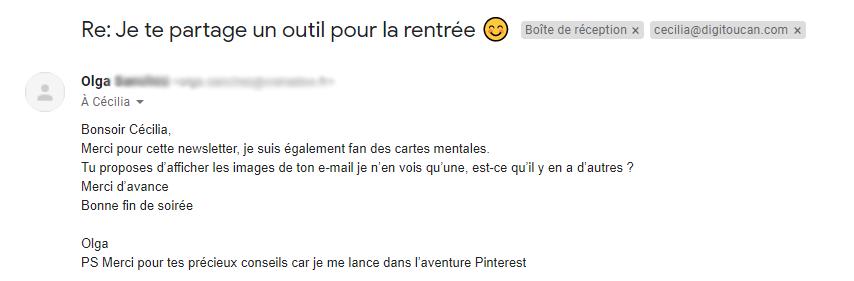 réponses à un email